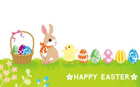 復活節卡片 - 兔寶寶和小雞 向量圖像