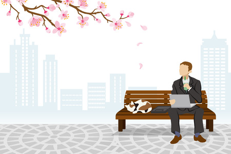 Employee sitting on a bench Spring Time