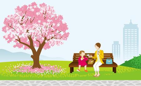 banc de parc: Mère et enfant pique-nique au printemps parc Illustration