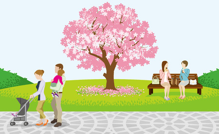 Cherry Blossom Tree and Cheerful People in Spring Park Vector