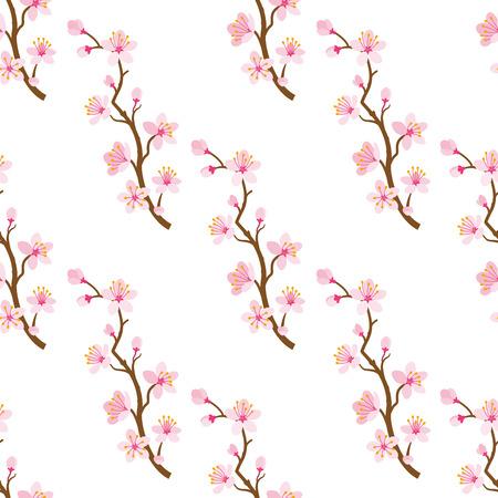 a twig: Cherry blossom twig -Seamless pattern Illustration