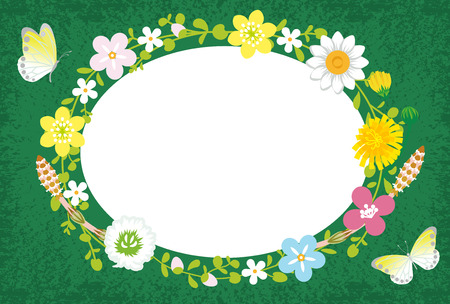 Spring Flower Wreath-Ellipse Green Vector