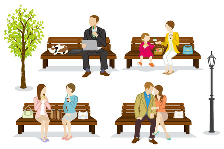 woman relaxing: Various people are sitting on a Bench Illustration