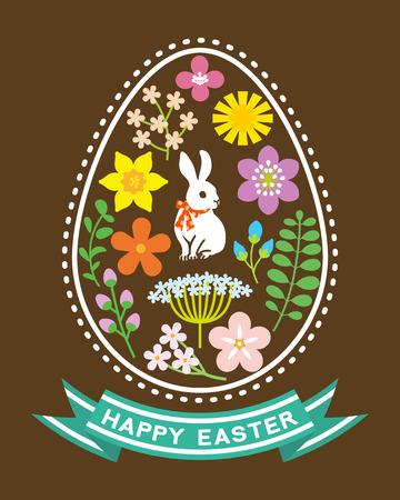 Easter Symbol Rabbit and Spring flower