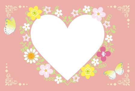 vectorrn: Spring Flower Wreath-Heart pink Illustration