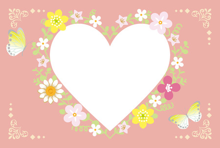 Spring Flower Wreath-Heart pink Illustration