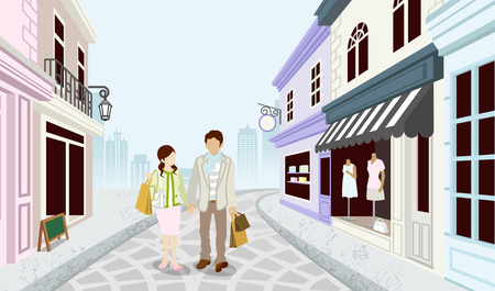 boutique display: Shopping couple in Old fashioned town