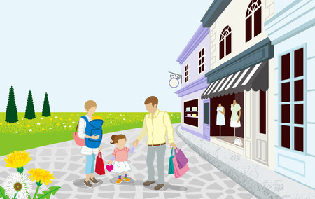 shops street: Shopping Family in Spring small town