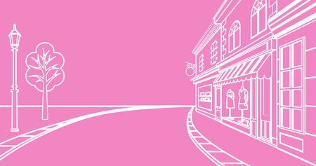 shops street: Small town Street, linear Illustration