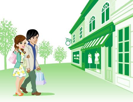 green street: Shopping couple in Retro town