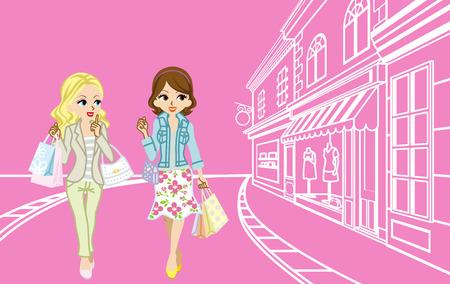 2 人の女の子の小さな町でのショッピング