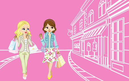 Two girls Shopping in the small town