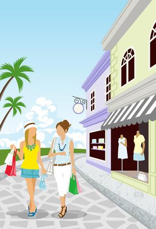 two roads: Summer Resort Shopping women Illustration