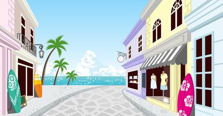 夏のリゾート地の商店街