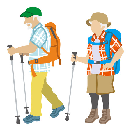 アクティブ シニアのカップルは、分離されたファッションの登山