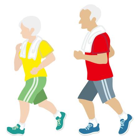 active seniors: Active Senior Couple, Jogging Isolated Illustration