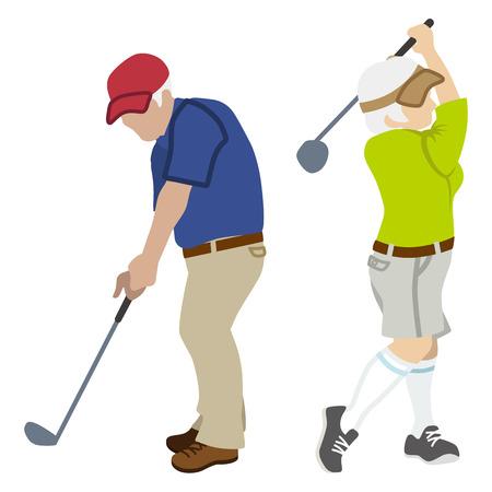 senior couple: Active Senior Couple ,Playing Golf Isolated Illustration