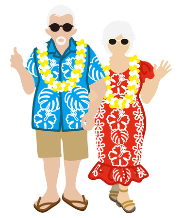 Active Senior Couple, Hawaiian Tourist Isolated