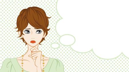 mujer pensativa: Corto pelo de las mujeres Sospecha, Globo de texto Vectores