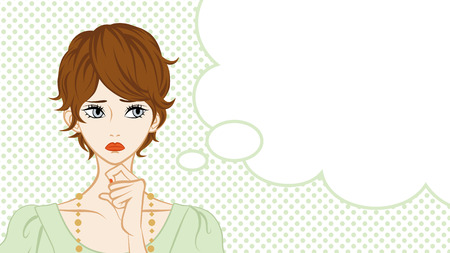 brown hair: Short Hair Women Suspicion,Speech Bubble