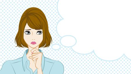 Bobbed hair Women Suspicion,Speech Bubble Illustration