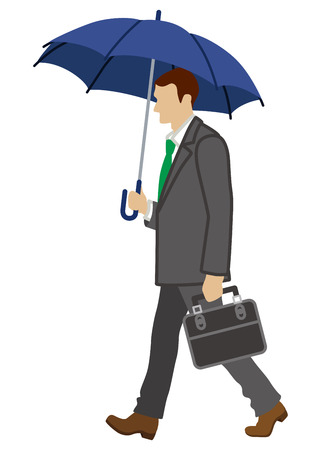 has: Businessman has an Umbrella,side view,Isolated Illustration