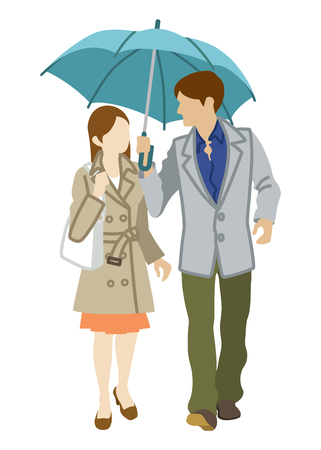 open trench: Couple Sharing an Umbrella,front view,Isolated