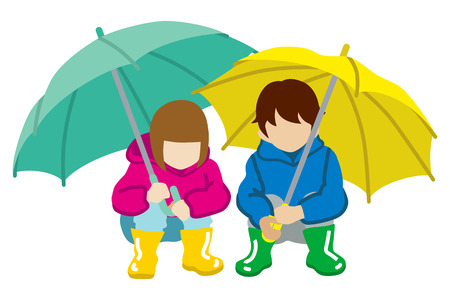 unrecognizable person: Crouching two Children  have an Umbrella,Isolated