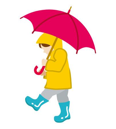 vectorrn: Child has an Umbrella,Isolated