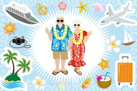先輩カップルの夏の休暇を設定  イラスト・ベクター素材