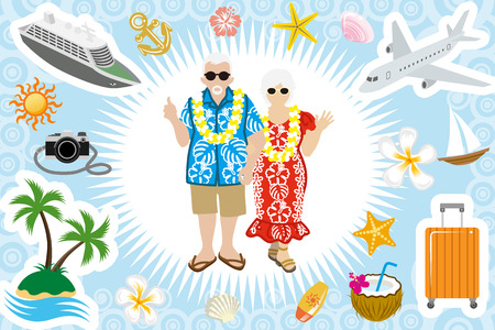 hawaiian culture: Senior couple Summer vacation set