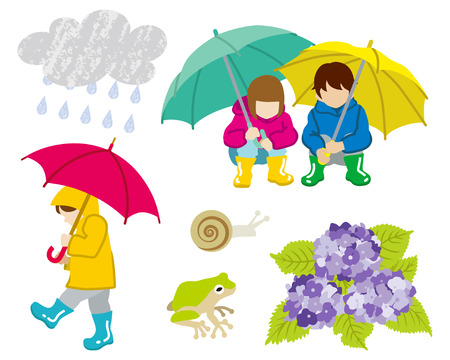 crouch: Rainy day children Clip Art set