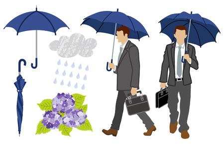 man front view: Rainy day Businessman set Illustration