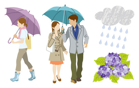 loving couple: Rainy day Young Adults Clip Art set Illustration