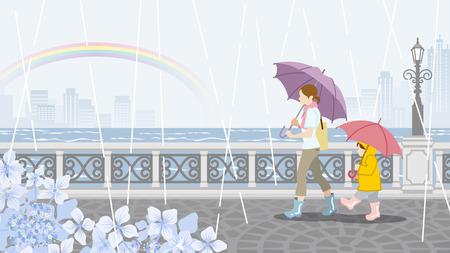tranquil scene on urban scene: Mom and Child in Rainy day scenery Illustration