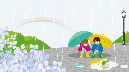 雨の日の風景の中の子供