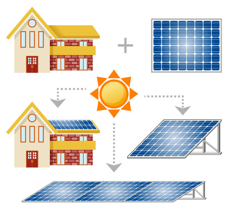 solar roof: Solar Panel set Illustration