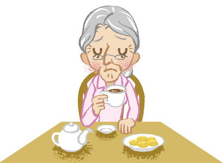 uneasy: Senior women lonely tea time white background