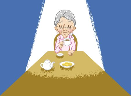 uneasy: Senior women lonely tea time Illustration