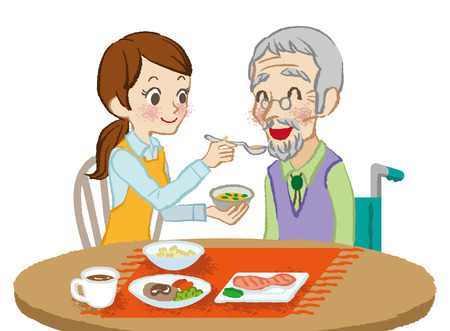 care: Senior care meals Illustration