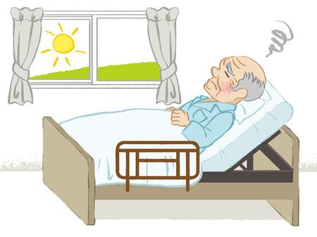 寝たきりの年配の男性