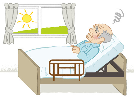 sick bed: Bedridden senior men Illustration