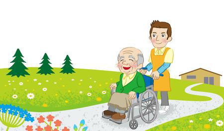Wheelchair senior men and Caregiver in nature Stock Illustratie
