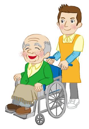 senior men: Wheelchair senior men and Caregiver white background