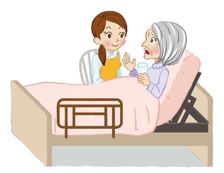 mujer acostada en cama: Cuidado mayor que escucha de fondo blanco de cerca