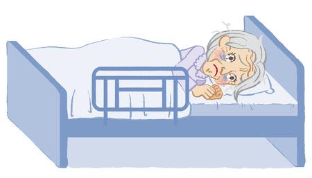 不眠症の年配の女性ホワイト バック グラウンド