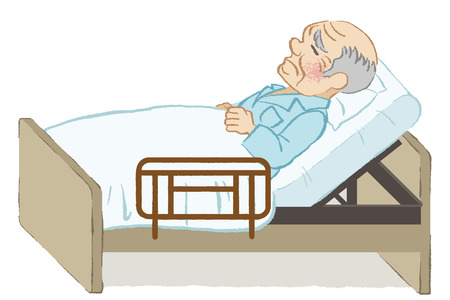 bedridden: Unhappy bedridden senior men white background