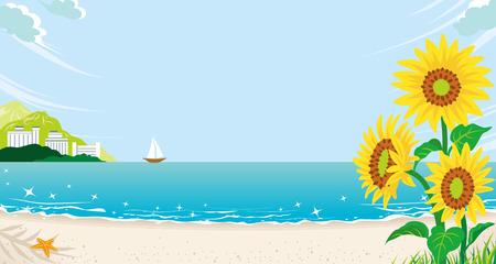 夏のビーチのひまわり  イラスト・ベクター素材