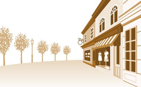 Shop Straat Sepiakleurig