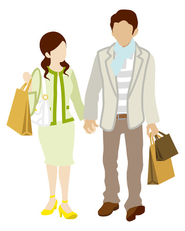 walking on hands: Couple Shopping